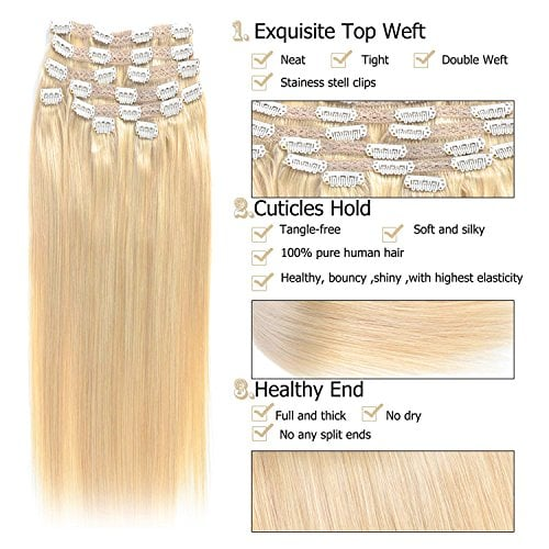 Gex 14 22 E2 80 B Remy Human Hair Extensions Full Head Lace Clip In With 10 Separate Pieces Total 22 Clips Silky Straight Remy Hair Color60 Platinum
