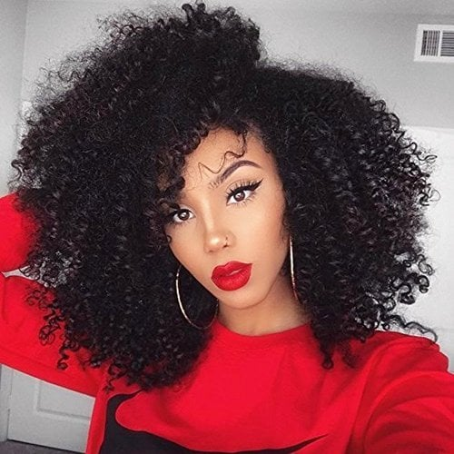 Full Shine 12″ 7 Pieces 100g Curly Afro Brazilian Human Hair Extensions  Clip In Hair Extensions Black Color Remy Hair Clip in Hair Extensions For  Black ... 1414a11cf4a6