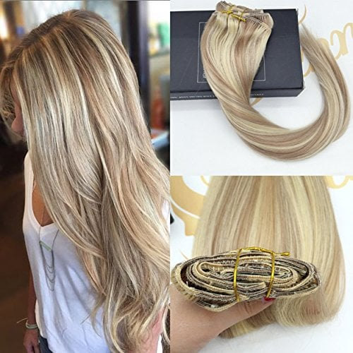 Sunny 18inch clip on hair extensions human hair dark ash blonde clip on hair extensions human hair dark ash blonde highlight bleach blonde 7 piece 120g real remy human hair extensions clip in extensions for full head pmusecretfo Image collections